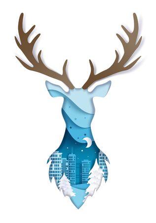 Double exposure vector layered paper cut wild deer head 向量圖像