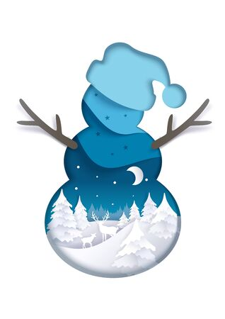 Double exposure vector layered paper cut snowman silhouette with winter night forest landscape inside. Winter trendy composition for greeting card, poster, banner, website page etc.