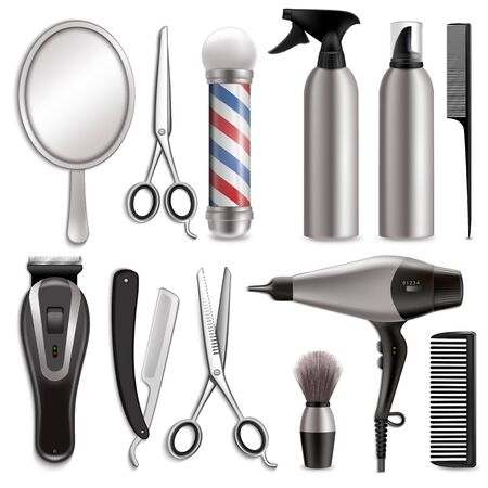 Barber tools set, vector realistic isolated illustration