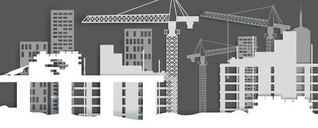 Construction site, vector illustration in paper art style