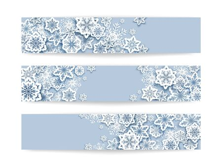 Merry Christmas horizontal poster, banner vector template set