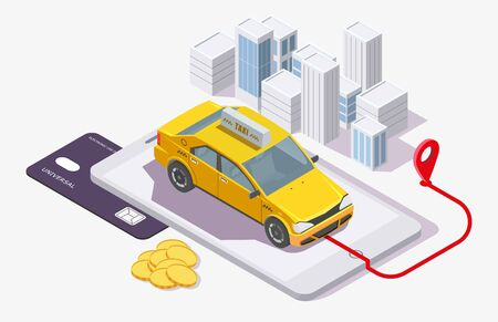 Taxi booking app, vector flat isometric illustration