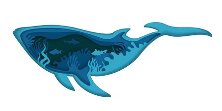 Double exposure vector layered paper cut whale