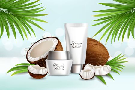Natural coconut cosmetics, vector advertising poster template