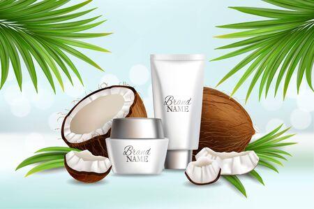 Natural coconut cosmetics, vector advertising poster template Stock fotó - 133638820