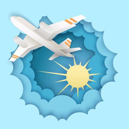 Airplane flying in the sky, vector illustration in paper art style Ilustração