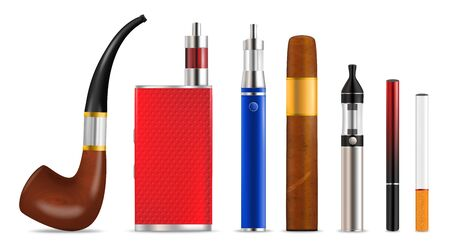 Smoking and vaping cigarette icon set, vector isolated illustration Ilustração