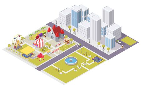 Vector flat isometric city with amusement attractions and public park areas. Carousel medieval castle ferris wheel circus tent shooting range bumper cars train ride, cotton candy and hot dog carts.