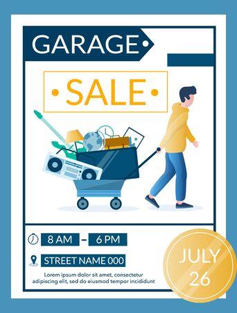 Garage sale advertisement vector banner design template
