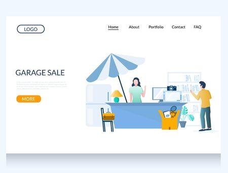 Garage sale vector website landing page design template Illustration