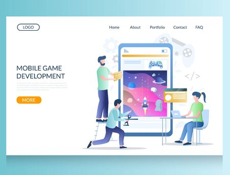Gaming apps development vector website template, web page and landing page design for website and mobile site development. Mobile game programming concept with developers creative team.