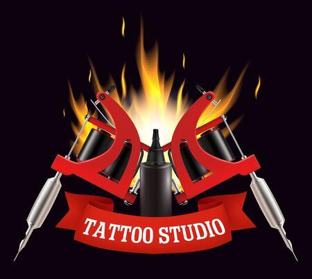 Tattoo studio label, emblem, logo vector template Illustration