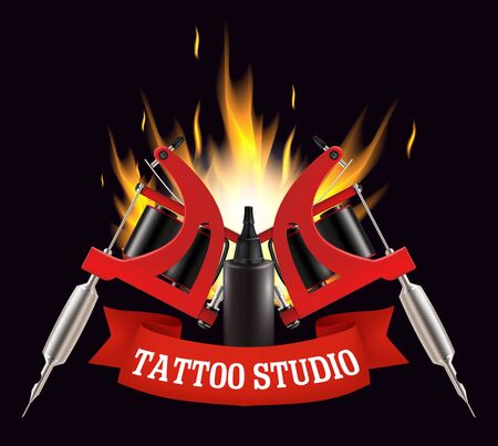 Tattoo studio label, emblem, logo vector template Vectores