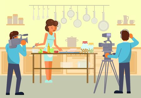 Culinary tv show vector concept for web banner, website page
