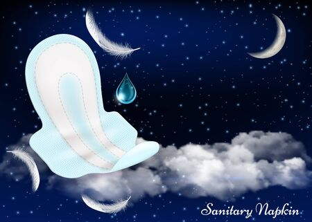 Night protection wings sanitary pads vector advertising poster design template Illusztráció