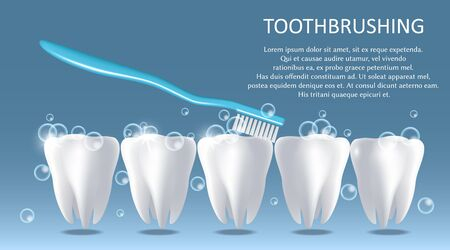 Toothbrushing vector medical poster banner design template