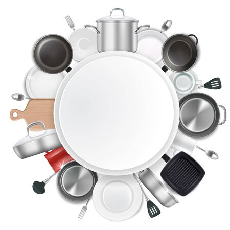 Frame with kitchen utensils and dishes, realistic vector illustration