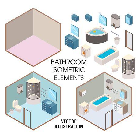 Bathroom interior constructor, vector flat isometric illustration Illusztráció