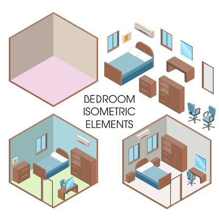 Bedroom interior constructor, vector flat isometric illustration Illustration