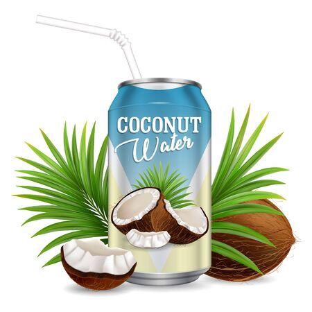 Organic refreshing coconut water vector realistic illustration