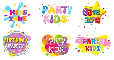 Birthday party kids zone label banner set, vector isolated illustration Illustration