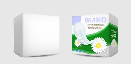 Hygieneserviettenverpackungsbox-Mockup-Set, isolierte Vektorgrafik