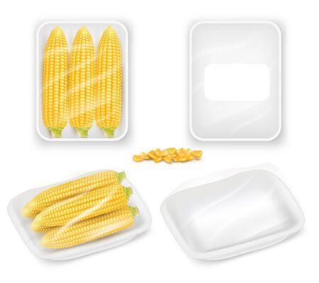 Corn packaging tray mockup set, vector realistic illustration