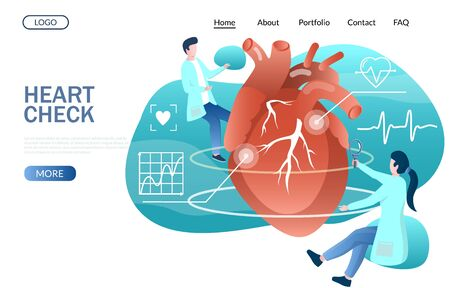 Heart check vector website landing page design template Ilustración de vector