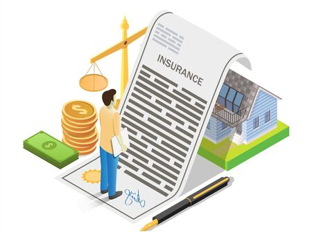 House insurance, vector illustration. Isometric insurant, money, scales of justice and residential house under reliable protection of insurance policy. Home insurance concept for banner, website page.