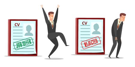Resume cv with job offer and rejected stamps, happy and sad businessmen cartoon characters, vector flat style design illustration. Employment, human resources, recruitment, hiring concept. Standard-Bild - 134401441