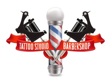 Tattoo studio and barber shop label, logo vector template. Realistic barber pole, two black crossed tattoo machines and red ribbon on white background. Standard-Bild - 134401461