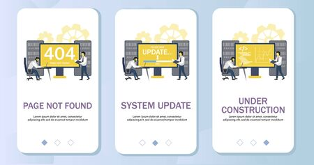 Page not found, system update and under construction mobile app onboarding screens. Menu banner vector template for website and application development. Standard-Bild - 134401463