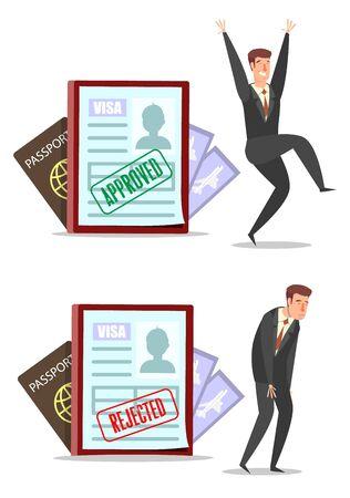 Demandes de visa avec timbres approuvés et rejetés, personnages de dessins animés d'hommes d'affaires heureux et tristes, illustration vectorielle de style plat. Vecteurs