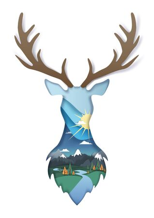 Double exposure vector layered paper cut wild deer head silhouette with nature landscape inside. Beautiful composition for card, poster, banner, website page etc. Standard-Bild - 134401468