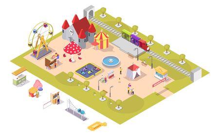 Amusement park attractions vector flat isometric illustration