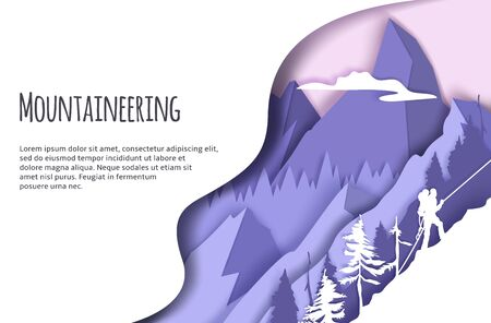Mountaineering web banner template, vector illustration in modern paper art style. Man with backpack climbing ice rock. Extreme winter sports. Trekking and climbing mountains, tourism, adventure.