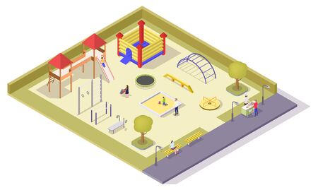 Children playground vector flat isometric composition with kids jumping trampolines, slide, swing, spring rocker, carousel, sandbox and sport equipment for outdoor workout.