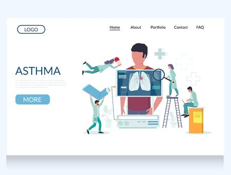 Asthma vector website landing page design template