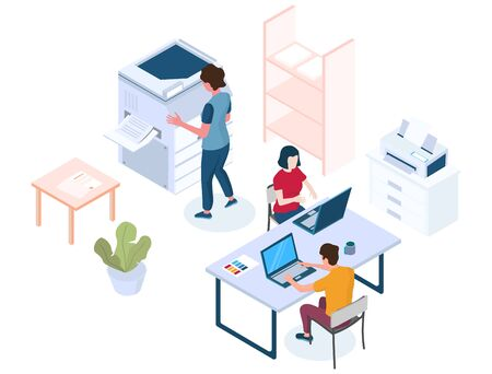 Printing services vector concept illustration. Isometric male and female characters of print shop, publishing house workers and equipment. Printing house composition for web banner, website page etc.