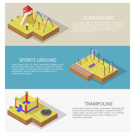Sports and recreation vector web banner template set