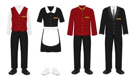 Insieme dell'uniforme del personale dell'hotel, illustrazione vettoriale isolata