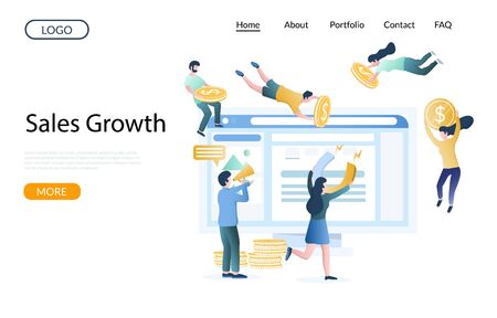 Sales growth vector website landing page design template