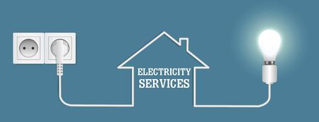 Electricity services, vector poster banner design template Çizim