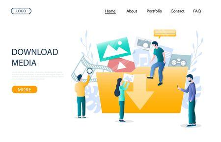 Download media vector website landing page design template Vektorgrafik