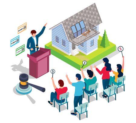 Hausauktion, Vektorillustration. Isometrischer Wohnhausbau, Auktionator mit Hammer und Leute mit Gebotspaddeln. Auktions- und Gebotszusammenstellung für Webbanner, Website-Seite usw.