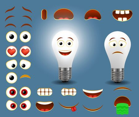 Light bulb emoji maker, smiley creator. Vector set of emoticon face parts for your own electrical lamp emoji creation with different facial expressions.