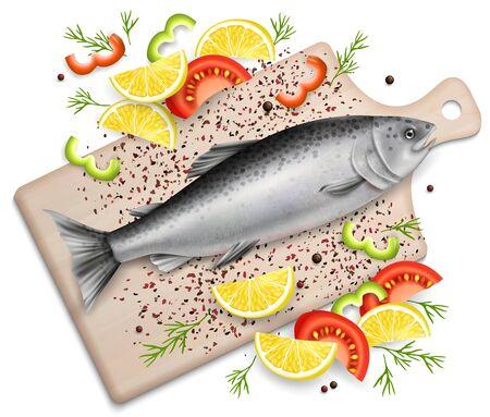 Pesce di color salmone sul tagliere di legno con le fette del pomodoro e del limone e l'erba piccante, illustrazione realistica di vista superiore di vettore. Composizione di pesce fresco biologico per menu ristorante, ricettario, pagina del sito web. Vettoriali