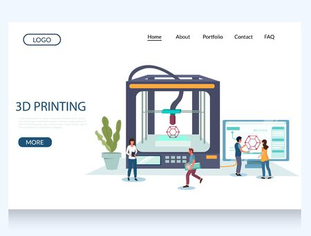 3d printing vector website template, web page and landing page design for website and mobile site development. Prototyping service, additive manufacturing.