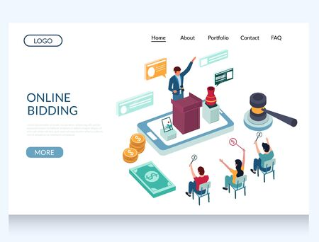 Online bidding vector website landing page design template