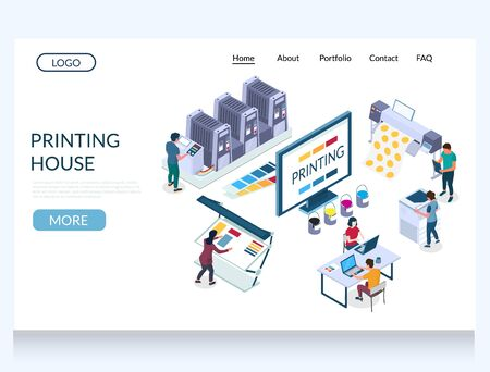 Printing house vector website landing page design template Vettoriali